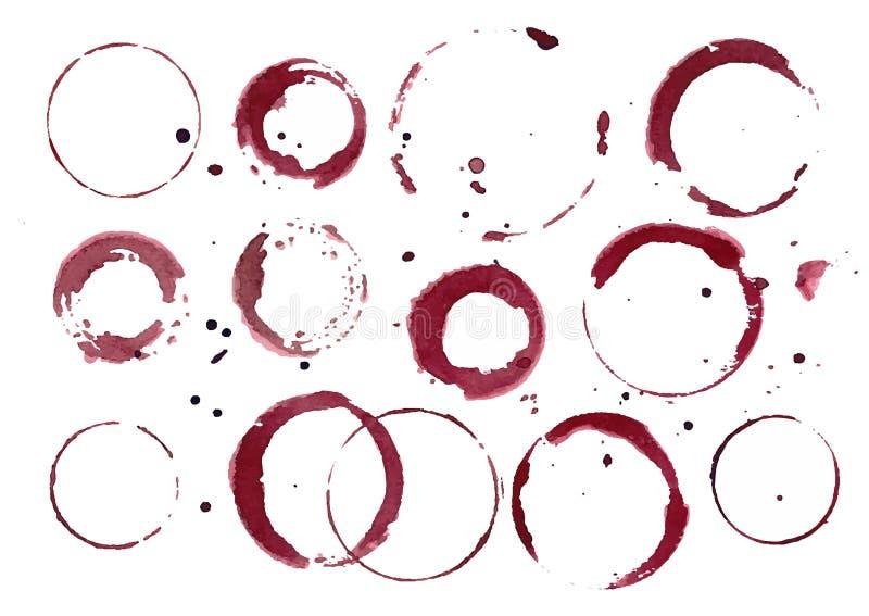Conjunto de manchas de óxido del vino stock de ilustración