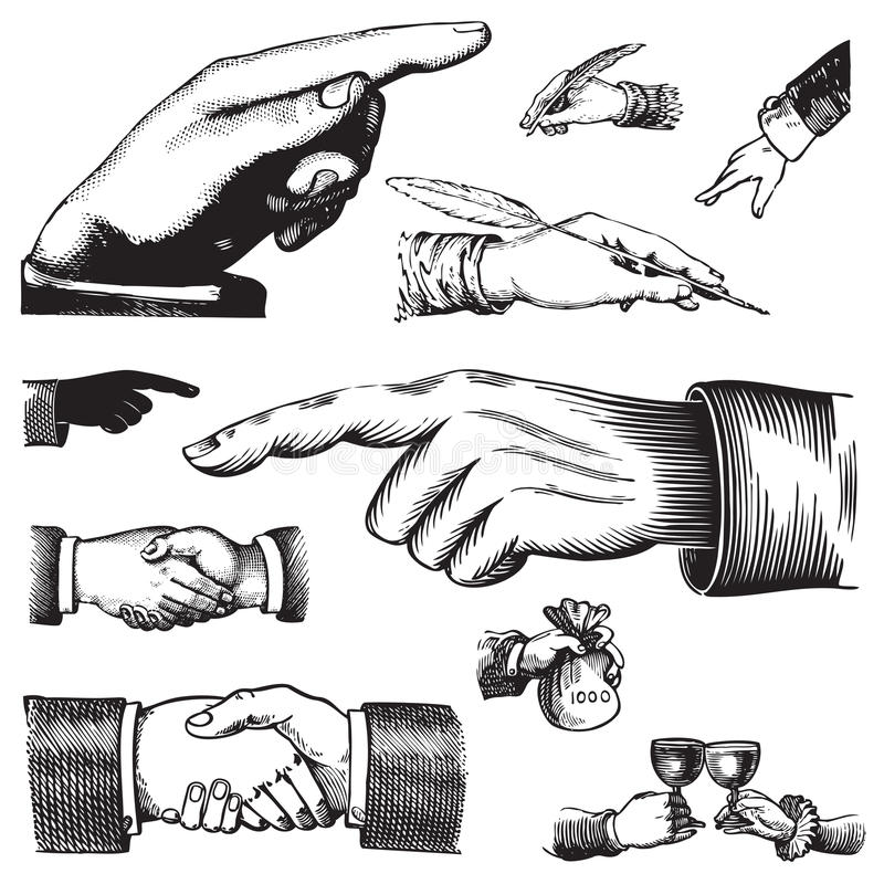 Conjunto de manos antiguas () stock de ilustración