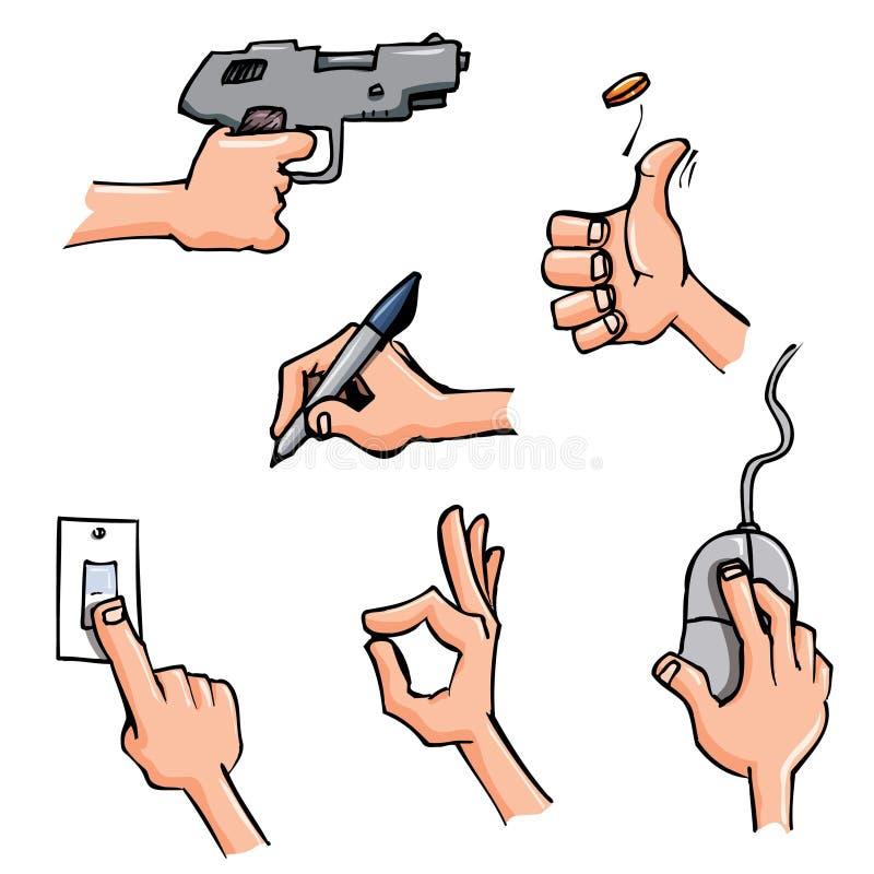 Conjunto de manos de la historieta en actitudes diarias libre illustration