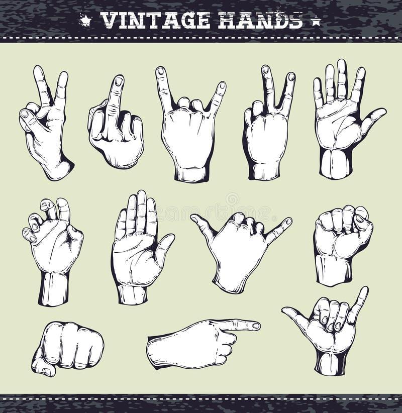 Conjunto de manos de la vendimia ilustración del vector