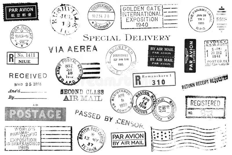 Conjunto de marcas postales de la vendimia stock de ilustración