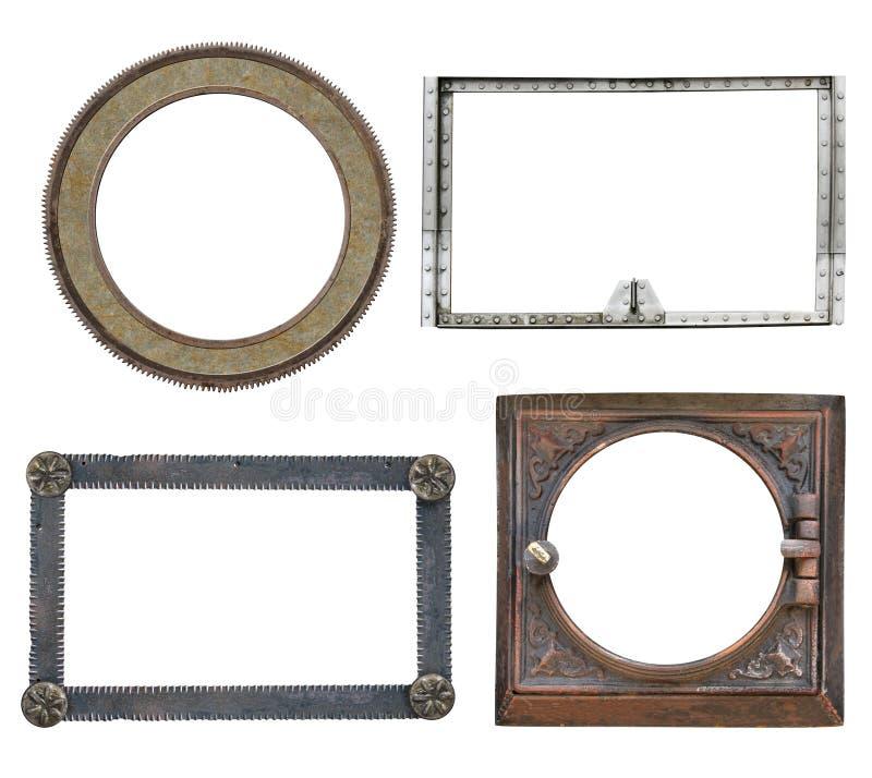 Conjunto de marcos metálicos vintage de estilo steampunk fotografía de archivo
