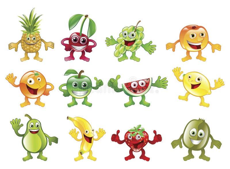 Conjunto de mascotas coloridas del carácter de la fruta ilustración del vector