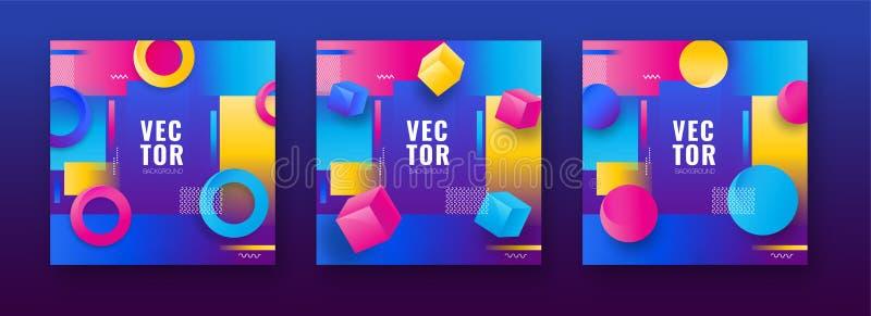 Conjunto de modelos coloridos de design abstrato com forma geométrica como cubos ilustração do vetor