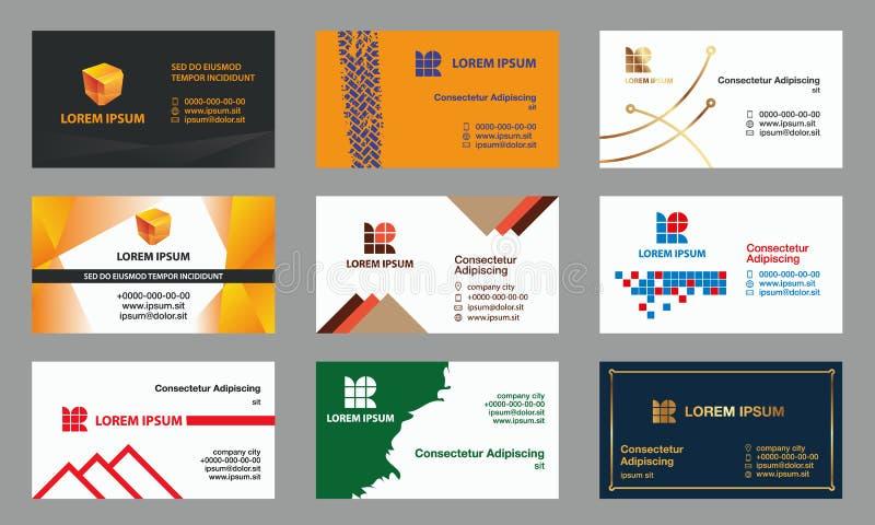 Conjunto de modelos de las tarjetas de visita stock de ilustración