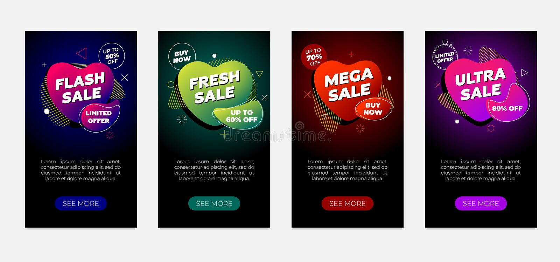 Conjunto de modelos de design de banner de venda Folheto de fluidos modernos dinâmicos sobre fundo preto Flash mega ultra fresco ilustração royalty free
