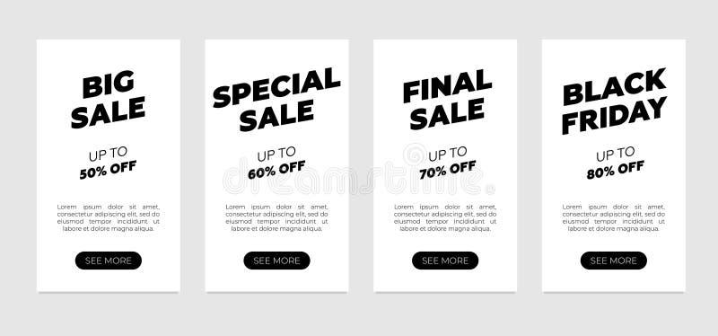 Conjunto de modelos de design de banner de venda Pavimento limpo sobre fundo branco Grande oferta especial de venda a retalho de  ilustração stock