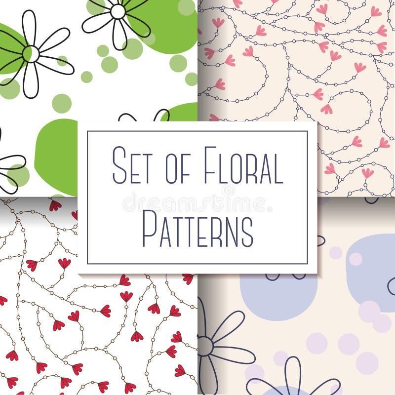 Conjunto de modelos florales stock de ilustración