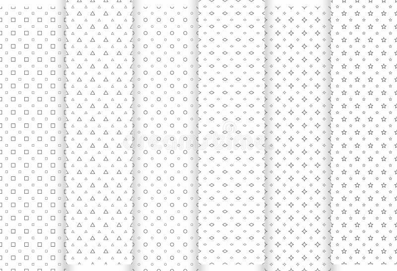 Conjunto de modelos inconsútiles abstractos Triángulos y círculos grises, estrellas, squraes y Rhombus, texturas elegantes modern stock de ilustración