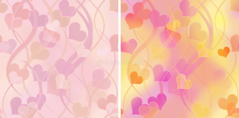 Conjunto de modelos inconsútiles con los corazones ilustración del vector