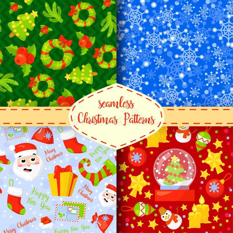 Conjunto de modelos inconsútiles de la Navidad Fondos con los símbolos día de fiesta y los elementos de la celebración de familia stock de ilustración