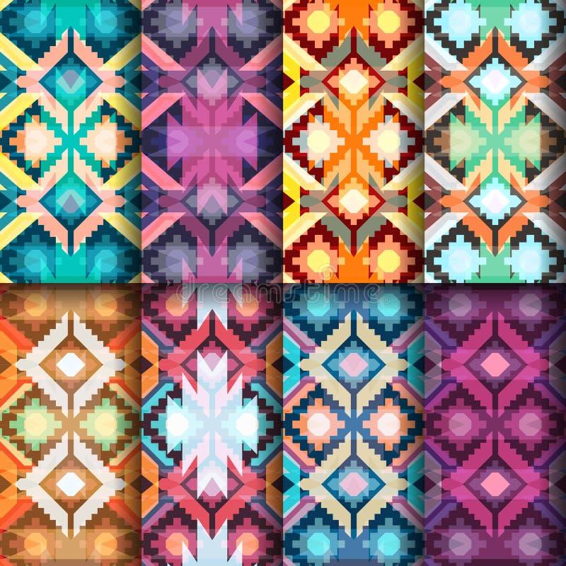 Conjunto de modelos inconsútiles geométricos Adornos étnicos y tribales VE ilustración del vector