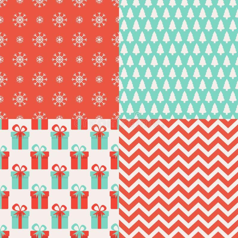 Conjunto de modelos inconsútiles de la Navidad 4 modelos de las vacaciones de invierno Texturas sin fin para el papel pintado, fo libre illustration