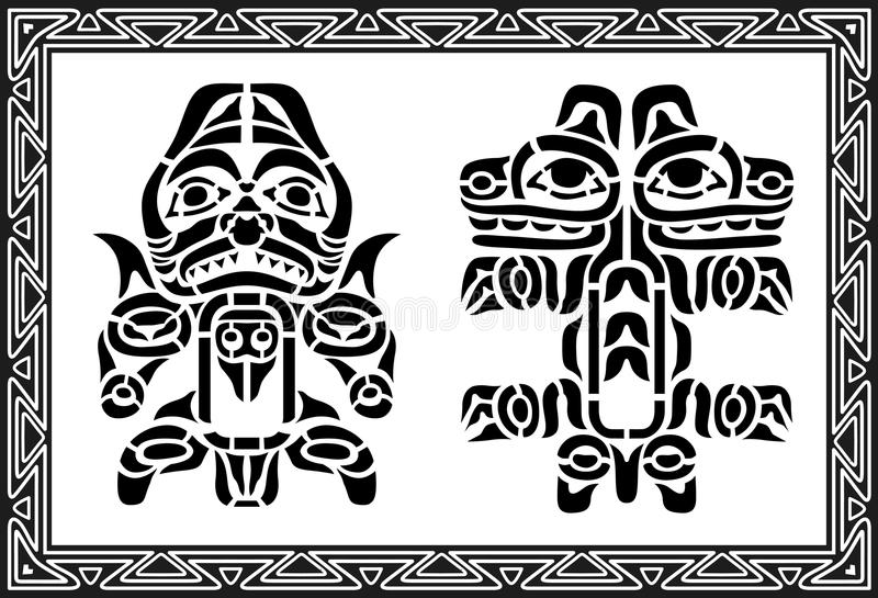 Conjunto de modelos indios americanos antiguos ilustración del vector