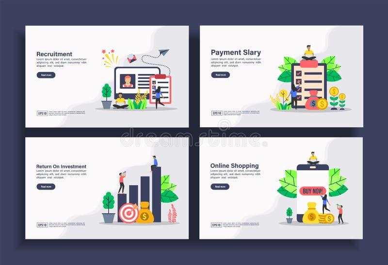 Conjunto de modelos modernos de design simples para Empresas, recrutamento, salário de pagamento, retorno do investimento, compra ilustração royalty free