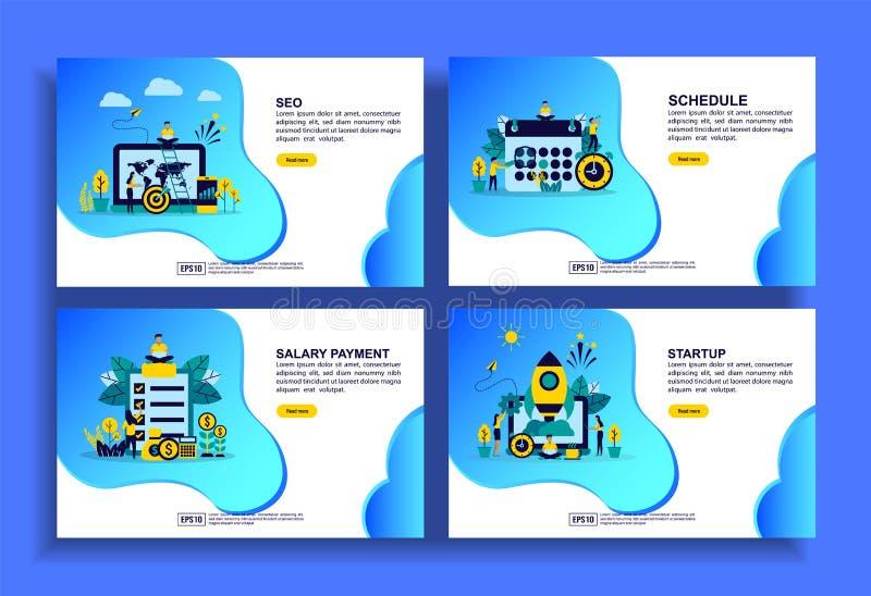 Conjunto de modelos modernos de design simples para Empresas, Seo, programação, pagamento de salário, inicialização Fácil de edit ilustração stock