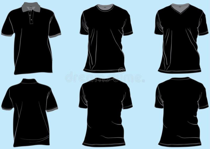 Conjunto de modelos negros de la camisa ilustración del vector