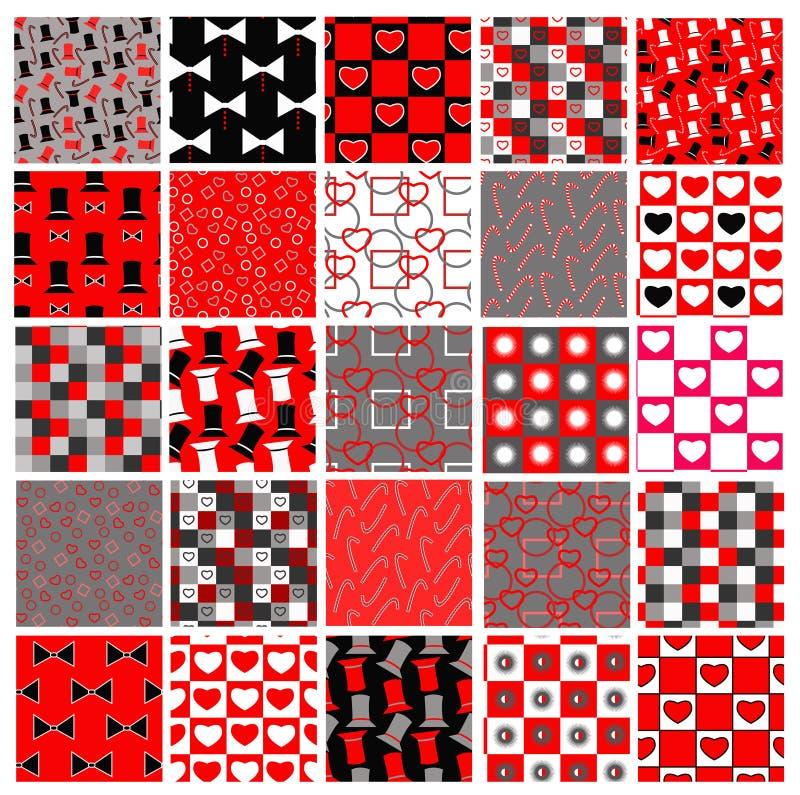 Conjunto de modelos rojos y negros de la celebración stock de ilustración