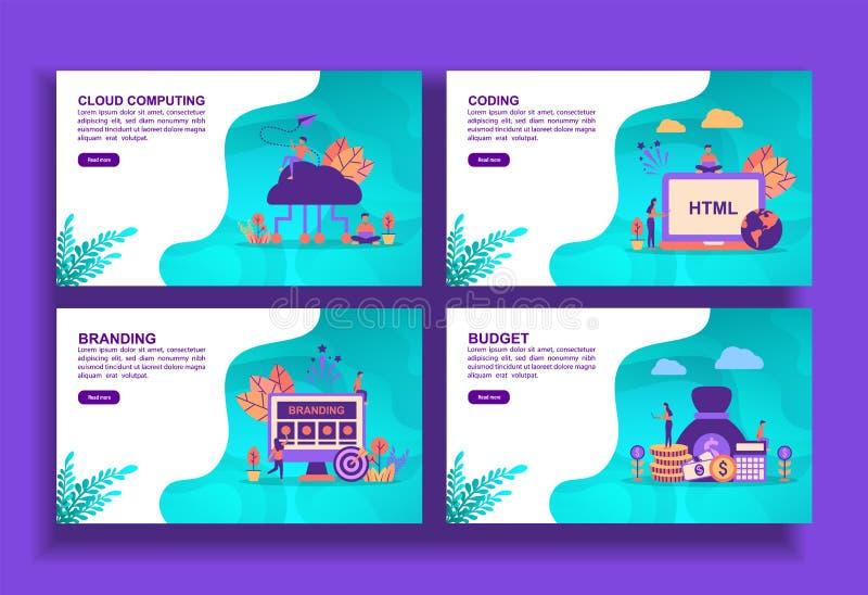 Conjunto de modernas plantillas de diseño plano para empresas, cloud computing, codificación, marca, presupuesto Fácil de editar  stock de ilustración