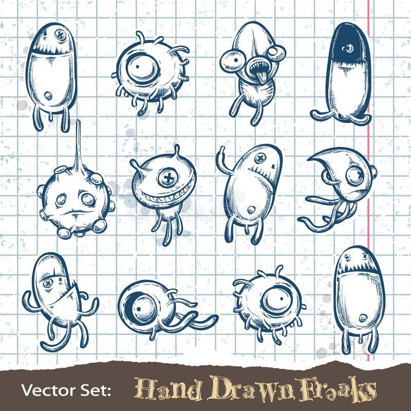 Conjunto de monstruos drenados mano ilustración del vector