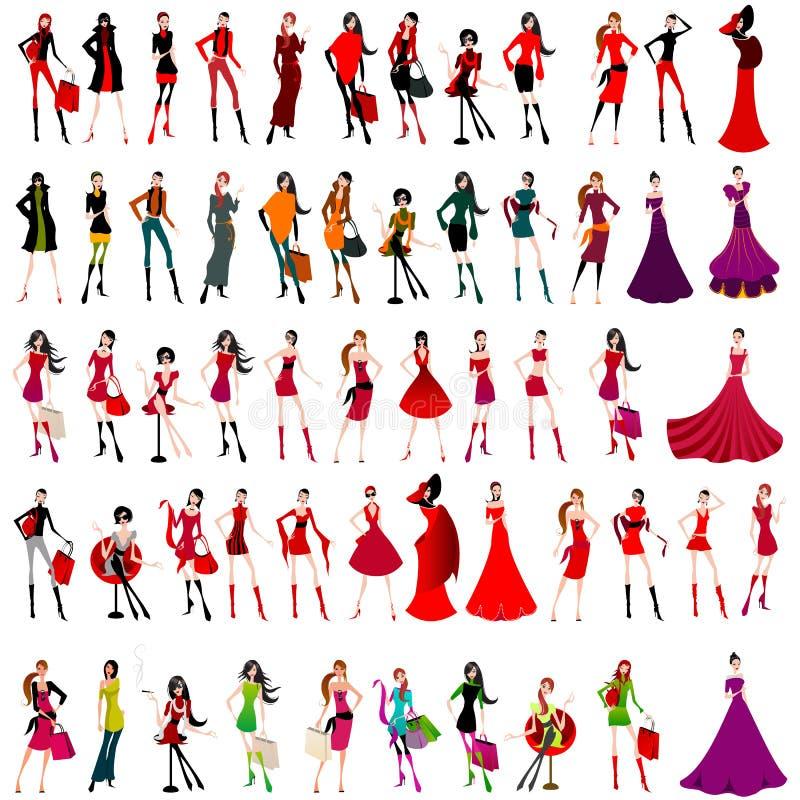 Conjunto de muchachas elegantes ilustración del vector