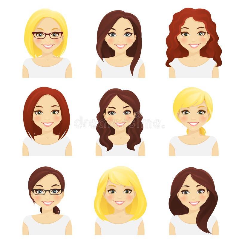 Conjunto de muchachas lindas stock de ilustración