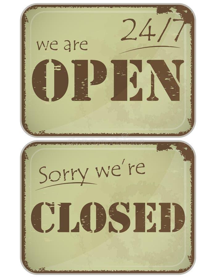 Conjunto de muestras del grunge: abierto-cerrado - 24 horas stock de ilustración
