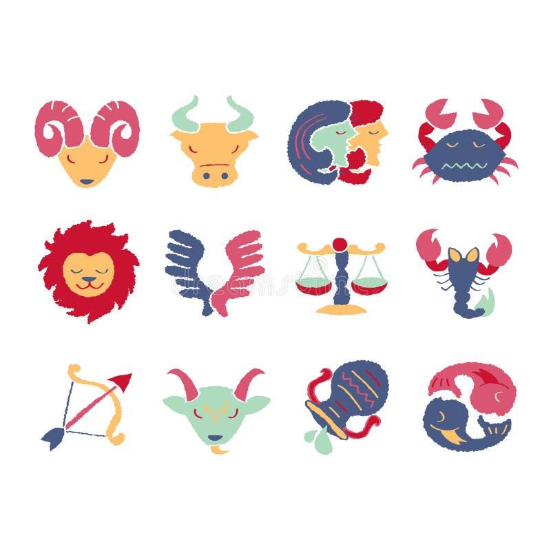 Conjunto de 12 muestras del zodiaco stock de ilustración