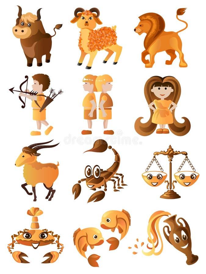 Conjunto de muestras del zodiaco ilustración del vector