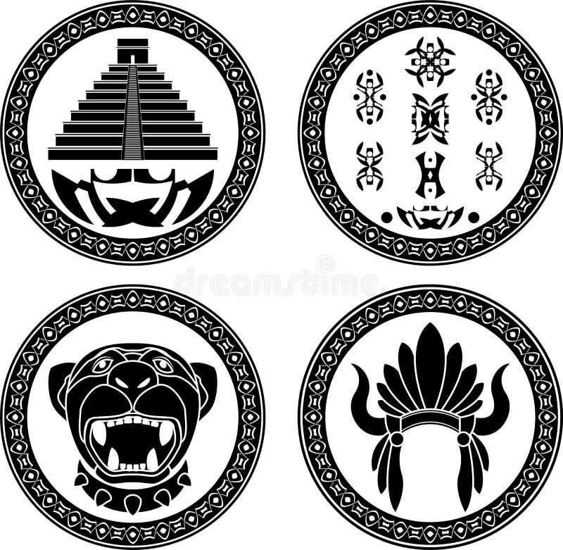 Conjunto de muestras mayas ilustración del vector