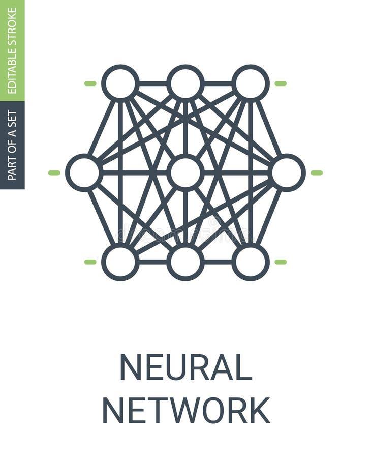 Conjunto de nós do ícone da rede neural de ícone neural da Web ilustração royalty free