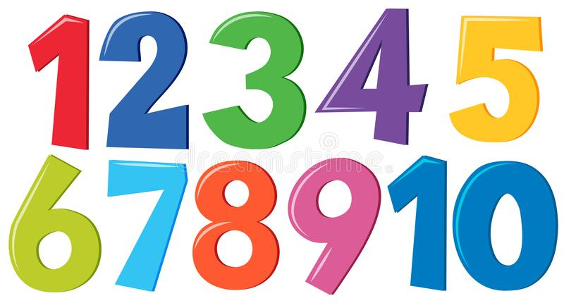 Conjunto de números coloridos ilustración del vector