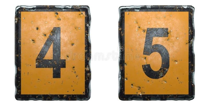 Conjunto de números 4, 5 hechos con el símbolo de carretera público color naranja y negro sobre fondo blanco 3d fotos de archivo libres de regalías