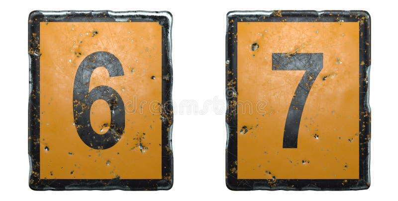Conjunto de números 6 y 7 hechos de señal pública de color naranja y negro sobre fondo blanco 3d imagen de archivo libre de regalías