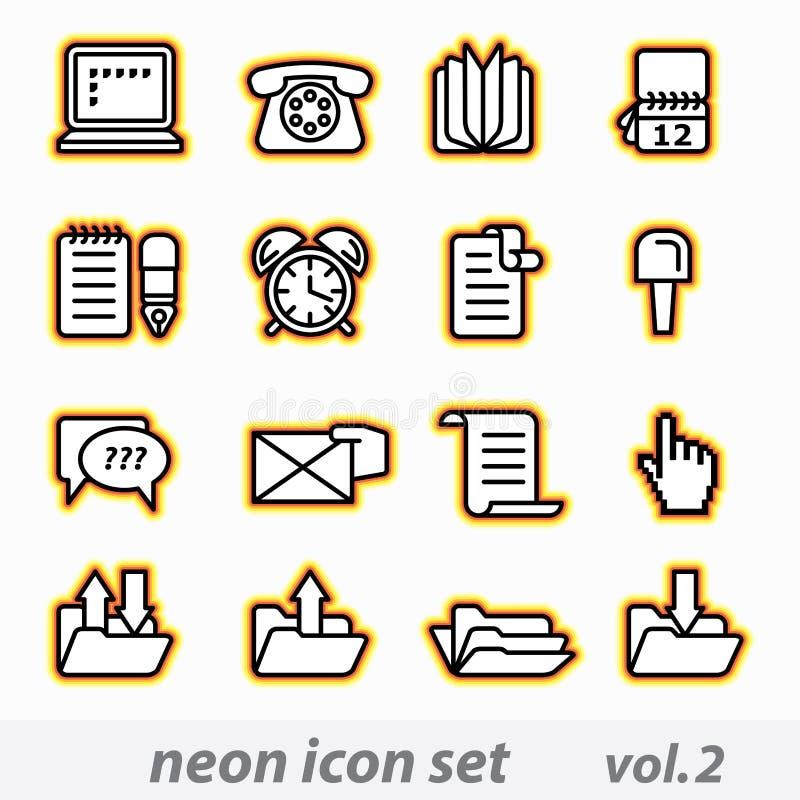Conjunto de neón del icono stock de ilustración