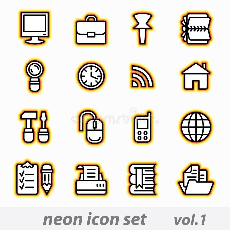 Conjunto de neón del icono del ordenador ilustración del vector