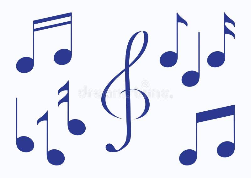 Conjunto de notas de la m?sica Silueta azul Vector ilustración del vector