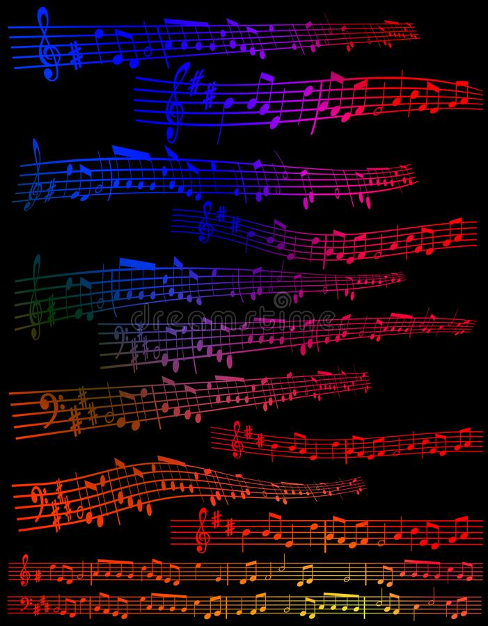 Notas De La Música Aisladas En Fondo Negro Del Color Stock de ...