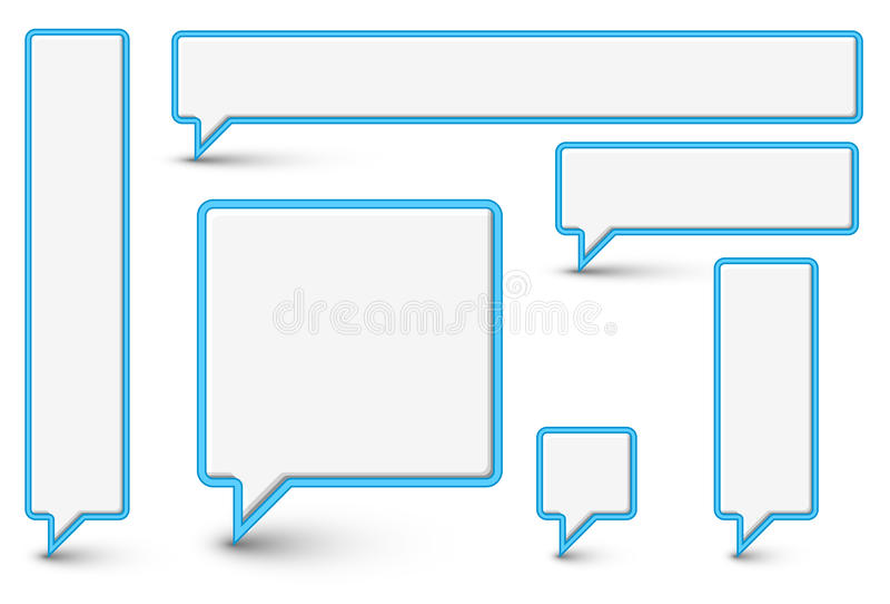 Conjunto de nubes y de burbujas cómicas plásticas del vector stock de ilustración