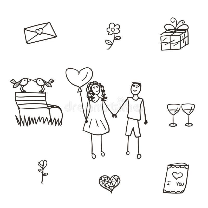 Conjunto de nueve ilustraciones del vector de la tarjeta del día de San Valentín, estilo drenado mano libre illustration