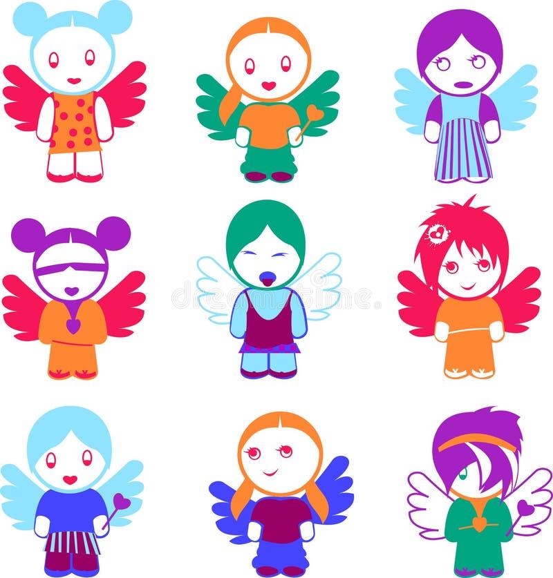 Conjunto de nueve muñecas coloridas del ángel. ilustración del vector