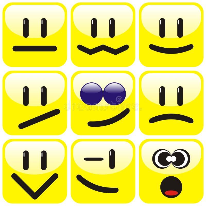 Conjunto de nueve smiley ilustración del vector