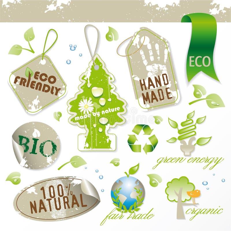 Conjunto de nuevos elementos ecológicos stock de ilustración