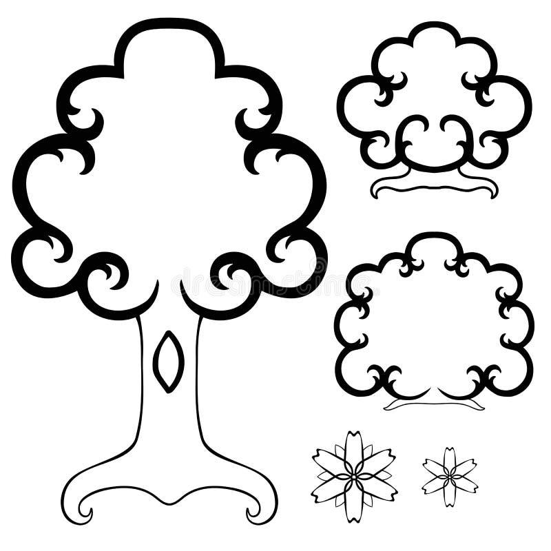 Conjunto de objetos Árbol, arbustos, flores Primavera y verano Sistema linear blanco y negro Libro de colorear para los niños adu stock de ilustración