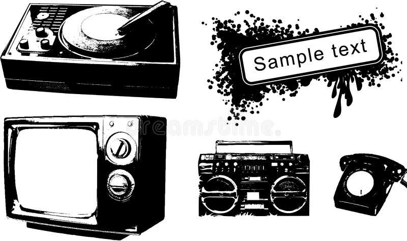 Conjunto de objetos del grunge libre illustration
