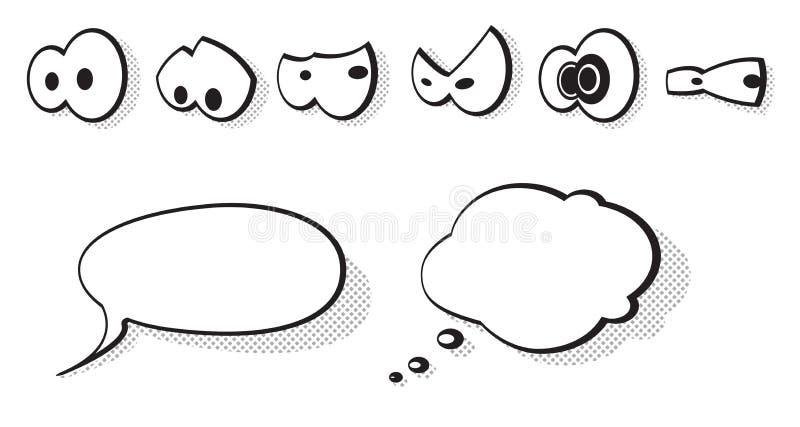 Conjunto de ojos de la historieta del vector ilustración del vector