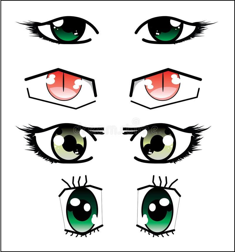 Conjunto de ojos del anime stock de ilustración