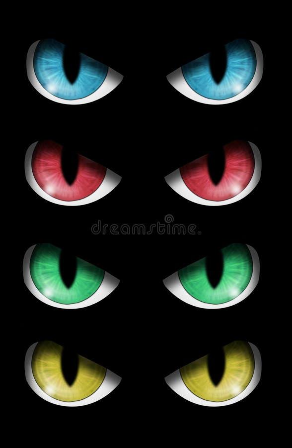 Conjunto de ojos malvados ilustración del vector