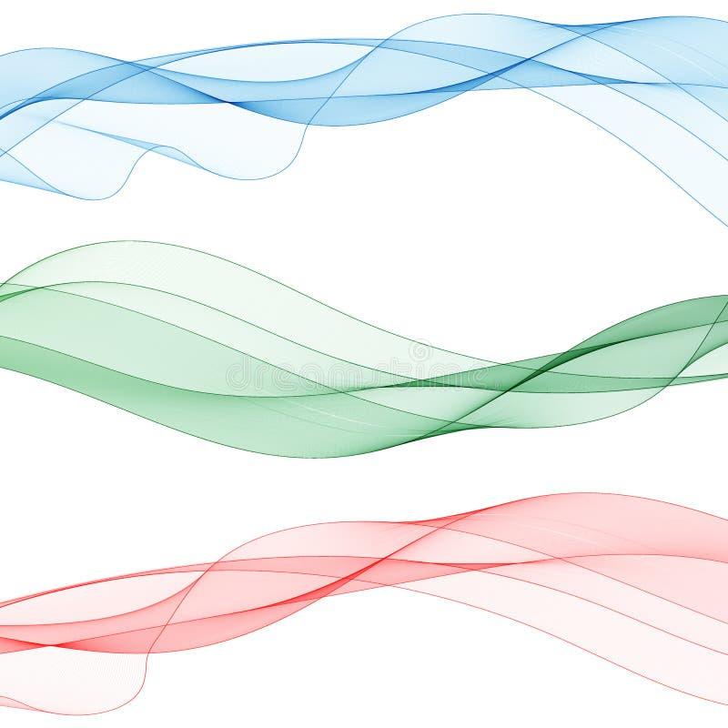 Conjunto de ondas coloreadas gráficos vectoriales abstractos Pasos 10 ilustración del vector
