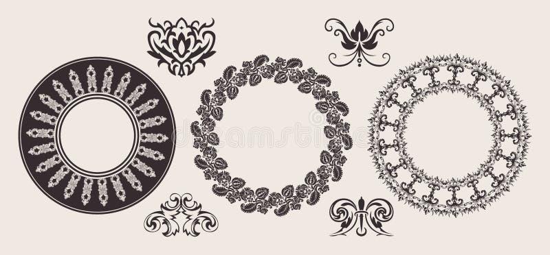 Conjunto de ornamentos de una de color del círculo frontera del cordón. ilustración del vector